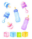 Kids accessories - bottles, nipples, rattles. Watercolor illustration