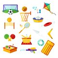 Kids activities. Elements flat collection of summer outdoor recreation and on the beach. Summer holiday activity symbols set.