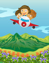 Kids and an airplane illustration of in a beautiful nature Stock Images