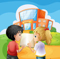 Kids arguing in front of the school building illustration Royalty Free Stock Image