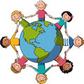 Kids around the world europe africa holding hands a globe objects are grouped and in separate layers Stock Images