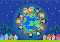 Kids around the world Royalty Free Stock Photo