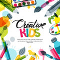 Kids art, education, creativity class concept. Vector banner, poster background with calligraphy, pencil, brush, paints. Royalty Free Stock Photo