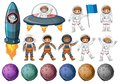 Kids in astronaut costume and different planets