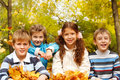 Kids in autumnal park Stock Photo