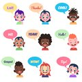 Kids avatars. International people with speech bubbles different chat words children communication talking bubbles