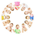 Kids and Babies Group Circle, Children over White Royalty Free Stock Photo