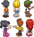 Cartoon boys and girls back view