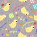 Kids background with chickens, balloons, garlands, happy birthday