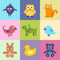 Kids background colorful for with cartoons of cute animals Stock Image