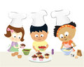 Kids baking cupcakes illustration of in the kitchen having fun Royalty Free Stock Photos