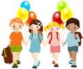 kids with balloons. school childhood.