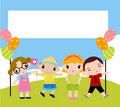 Kids and banner Stock Photography