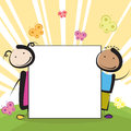 Kids with banner two boy and girl behind the blank or sheet paper Royalty Free Stock Photos