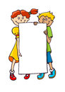 Kids with a banner two holding blank Stock Photo
