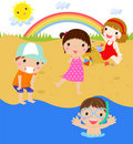 Kids on beach Royalty Free Stock Photography