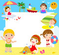 Kids at the Beach with banner