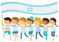 Kids with big Israeli flag