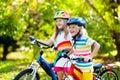 Kids on bike. Children on bicycle. Child biking Royalty Free Stock Photo