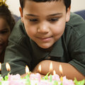 Kids and birthday cake. Royalty Free Stock Photography