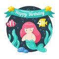Kids birthday card with cute little mermaid and marine life in doodle styte. Kawaii characters mernaid, sea fish, seaweed