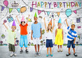 Kids on the Birthday Party Royalty Free Stock Photo