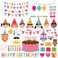 Kids birthday party set Royalty Free Stock Photo