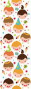 Kids at a birthday party vertical seamless pattern vector background ornament with hand drawn elements Stock Images