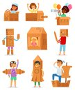 Kids in box vector creative children character playing in boxed house and boy or girl in carton plane or paper ship