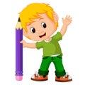 Kids boy with big pencil cartoon Royalty Free Stock Photo