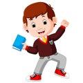 Kids boy carrying book cartoon