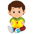 Kids boy reading book cartoon