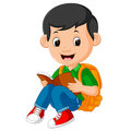 Kids boy reading book