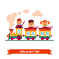 Kids, boys and girls riding on a cartoon train