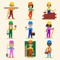 Kids builders characters profession vector illustration