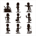 Kids builders characters silhouette vector illustration