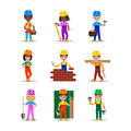Kids builders characters vector illustration
