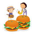 Kids and burger Stock Photos