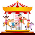 Kids on the Carousel Royalty Free Stock Photo