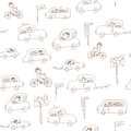 Kids cars seamless funny pattern Royalty Free Stock Image
