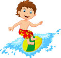 Kids cartoon play surfing on surfboard over big wave