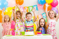 Kids celebrating birthday holiday Royalty Free Stock Photo
