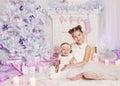 Kids Celebrating Christmas Holiday, Child Baby Girls Xmas Tree Royalty Free Stock Photo