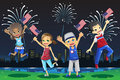 Kids celebrating Fourth of July Stock Photo