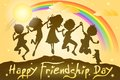 Kids celebrating friendship day easy to edit vector illustration of Royalty Free Stock Photography
