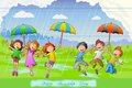 Kids celebrating friendship day easy to edit vector illustration of in rains Royalty Free Stock Images