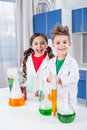 Kids in chemical lab Royalty Free Stock Photo
