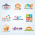 Kids child sport and fun logo vector set design Royalty Free Stock Photo