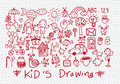 Kids and children's hand drawings Royalty Free Stock Photo