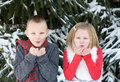 Kids at christmas blowing snow making a wish Royalty Free Stock Images